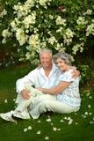 Gelukkig ouder paar die op gras rusten Royalty-vrije Stock Afbeelding