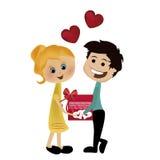 Gelukkig paar in de dag van de valentijnskaart Stock Illustratie