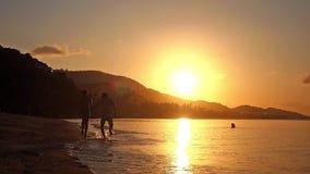 Gelukkig paar in de handen die van de liefdeholding in tropisch strand bij zonsondergang in langzame motie lopen 1920x1080 stock footage