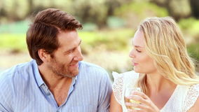 Gelukkig paar die en witte wijn spreken drinken stock footage