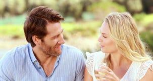 Gelukkig paar die en witte wijn spreken drinken stock videobeelden