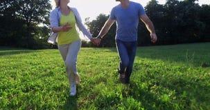 Gelukkig paar die samen lopen stock videobeelden