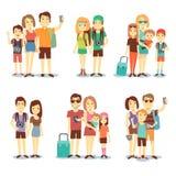 Gelukkig paar, familie, mensen, karakters van het toeristen de vector reizende beeldverhaal Stock Afbeelding