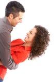 Gelukkig paar in liefde. Over witte achtergrond Stock Foto's