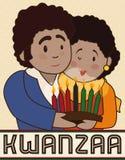Gelukkig Paar met een Kaarslicht die Kwanzaa, Vectorillustratie vieren royalty-vrije illustratie
