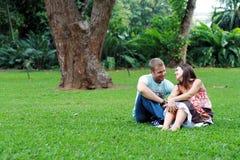 gelukkig paar op gras Stock Afbeeldingen