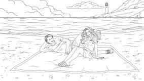 Gelukkig Paar op het Strand vector illustratie