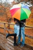 Gelukkig paar op middelbare leeftijd op de herfstdag stock afbeeldingen