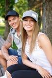 Gelukkig paar in openlucht Stock Foto