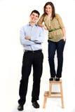 Gelukkig paar in studio stock afbeelding
