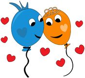 Gelukkig paar van ballons in liefde royalty-vrije stock foto's