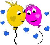 Gelukkig paar van ballons in liefde royalty-vrije stock afbeeldingen