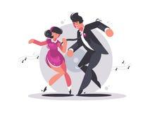 Gelukkig paar van kerel en meisjes het dansen vector illustratie