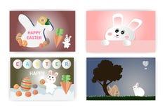 Gelukkig Pasen-concept met een leuk klein konijn en een kleurrijk ei, Gelukkig Pasen-concept met een leuk klein konijn en kleurri royalty-vrije illustratie