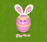 Gelukkig Pasen-de kaartontwerp van de vieringengroet met konijntjesoren op groene achtergrond Stock Fotografie