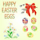 Gelukkig Pasen-decoratiepaaseieren en madeliefje op groene gras, pussy willov en boog Seizoengebonden vakantie in April Kleurrijk royalty-vrije illustratie