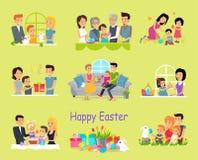 Gelukkig Pasen-Familie Vastgesteld Ontwerp Royalty-vrije Stock Foto