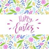 Gelukkig Pasen-het van letters voorzien citaat en decoratieve bloemengrenzen vector illustratie