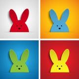 Gelukkig Pasen-Konijn Bunny Set Cartoon Stock Afbeelding