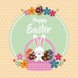 gelukkig Pasen-konijntje op bloemen de puntenachtergrond van het mandei Royalty-vrije Stock Afbeelding