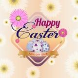 Gelukkig Pasen-malplaatje als achtergrond met mooie bloemen, lint en eieren De kaart van de groet vector illustratie