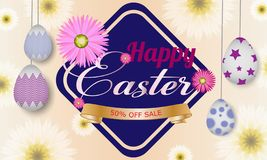 Gelukkig Pasen-malplaatje als achtergrond met mooie bloemen, lint en eieren De kaart van de groet Vectorillustratie - Beelden vec royalty-vrije illustratie