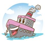 Gelukkig passagiersschip met bewolkte illustratie als achtergrond vector illustratie