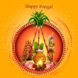 Gelukkig Pongal-festival van de achtergrond van Tamil Naduindia stock illustratie