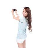 Gelukkig reis jong meisje selfie Royalty-vrije Stock Foto's