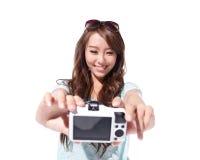 Gelukkig reis jong meisje selfie Stock Afbeeldingen
