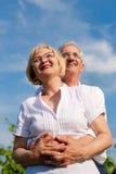 Gelukkig rijp paar dat aan de blauwe hemel kijkt Stock Foto