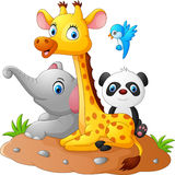 Gelukkig safari dierlijk beeldverhaal vector illustratie