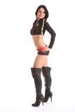 Gelukkig slank jong meisje in sexy zeemans kort kostuum Royalty-vrije Stock Foto's