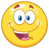 Gelukkig Smiley Yellow Emoticon Cartoon Mascot-Karakter stock illustratie