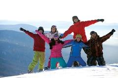 Gelukkig snowboarding team royalty-vrije stock foto