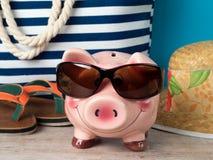 Gelukkig spaarvarken die zonnebril dragen stock foto's