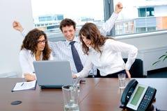 Gelukkig succesvol commercieel team Stock Fotografie
