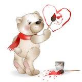 Gelukkig Teddy Bear-het schilderen hart 2 royalty-vrije illustratie
