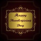 Gelukkig Thanksgiving day Gelukwens op gouden uitstekende kalligrafische achtergrond Royalty-vrije Stock Afbeelding