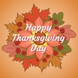 Gelukkig Thanksgiving day Illustratie met pompoen, bloem, eiken a Stock Foto