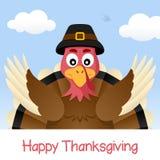 Gelukkig Thanksgiving day met Turkije Stock Afbeeldingen
