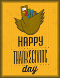 Gelukkig Thanksgiving day - Uitstekende Typografische Affiche Stock Afbeelding