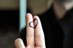 Gelukkig twee vingers en hart royalty-vrije stock afbeelding