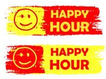 Gelukkig uur met glimlachteken, gele en rode getrokken etiketten Royalty-vrije Stock Foto
