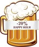 Gelukkig uur met vrij bier in mok vector illustratie