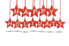 Gelukkig vakantieconcept met rode sterren op witte achtergrond Royalty-vrije Stock Afbeeldingen