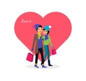 Gelukkig Valentine Day Couple Shopping royalty-vrije illustratie
