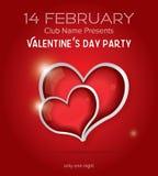 Gelukkig van de de Partijvlieger van de Valentijnskaartendag het Ontwerpmalplaatje Royalty-vrije Stock Afbeeldingen