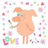 Gelukkig varken met een bloem in een hand Leuke piggy in beeldverhaalstijl op wit Stock Afbeeldingen
