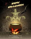 Gelukkig vector de kaartontwerp van Halloween Stock Afbeelding